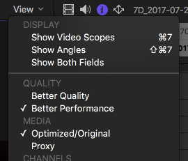 final cut pro x proxy optimized media